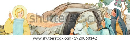Easter banner, border: an angel speaks to the myrrh-bearers about the resurrection, the tomb of Jesus Christ. For Christian church publications, Easter cards, prints. Biblical illustration hand drawn