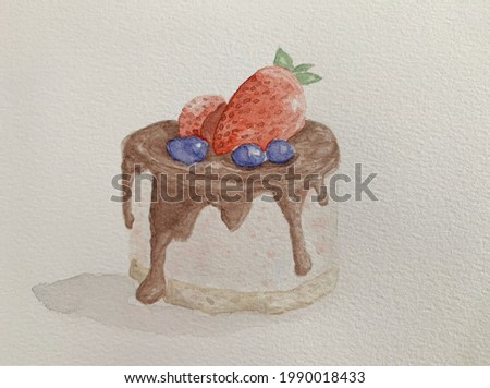 Watercolor painting of strawberry and blue berries on chocolate sauce cake