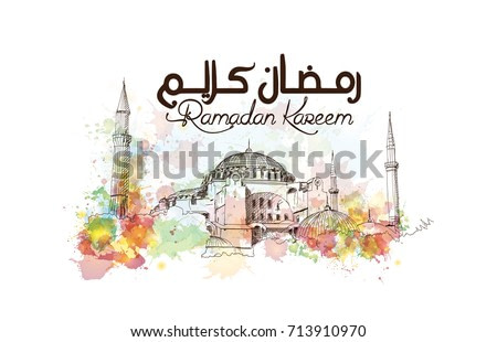 Watercolor sketch of Blue Mosque Istanbul Turkey with ramadan kareem text in vector illustration.