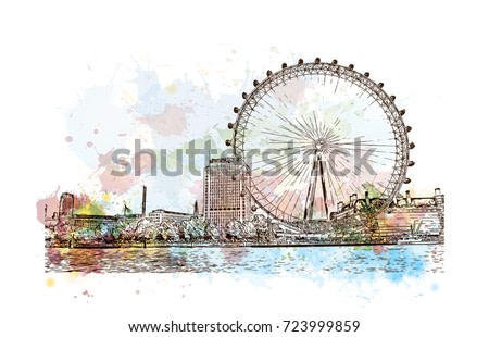 Watercolor sketch of Giant ferry London, UK (United Kingdom, England) in vector illustration.