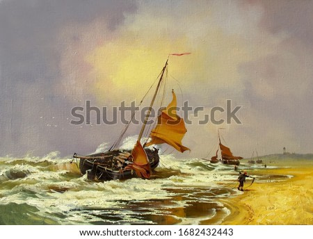 seascape with fishing boats off the coast,oil painting, fine art, fishermen, the clouds, sky, nature, water, boat, sea