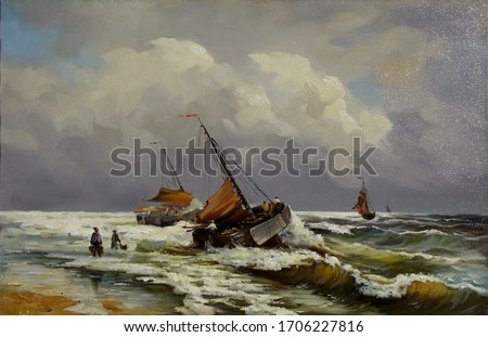 boats near the shore in a stormy sea with figures of fishermen,oil painting, fine art, sea, water, landscape, fishing, nature, marine