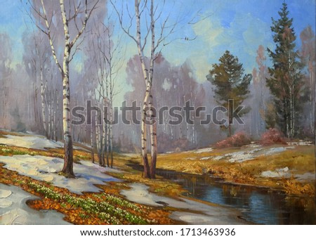 melting snow and the first spring flowers in a birch forest,fine art, oil painting, spring, birch trees, river, park, landscape, nature