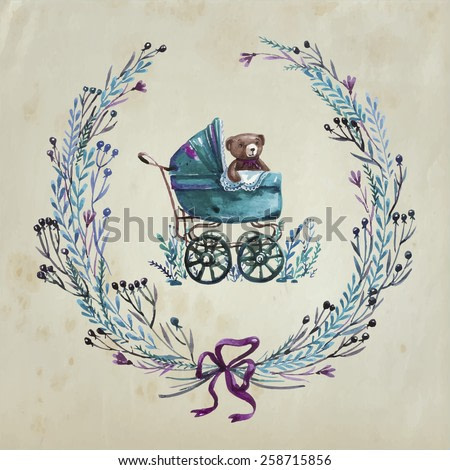 Cute kids illustration. Vector floral card with  baby carriage  and wreath from flowers, berries, leaves, branches.