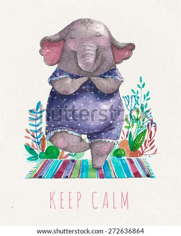 Vector Cute elephant practicing yoga in tree pose, meditation in the morning. Keep calm, relax. Watercolor painting