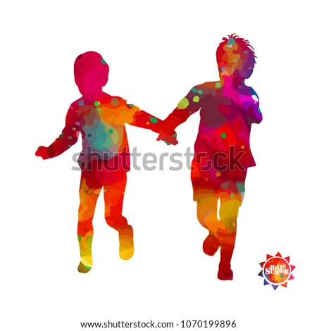 Silhouettes of watercolor running children. Vector