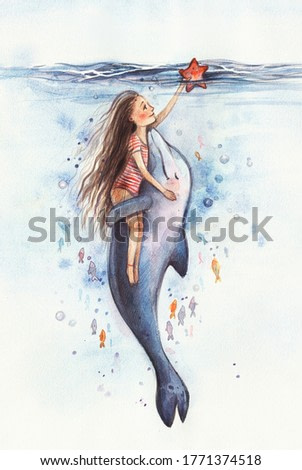 Cute girl in a striped swimsuit swims with a dolphin underwater and holds a starfish in his hand.Girl hugs with a dolphin. Best friends. Watercolor illustration. Cartoon dolphin is friends with man.