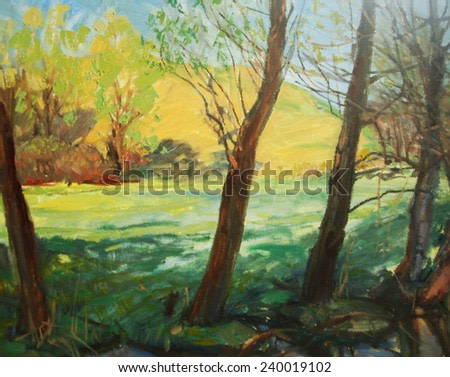 oil painting, wood summer drawing