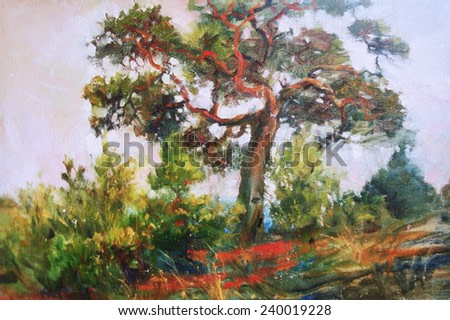 oil painting, decorative tree on a hill