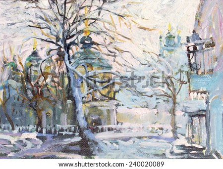 watercolor painting, winter, winter street of the city, the temple in the distance