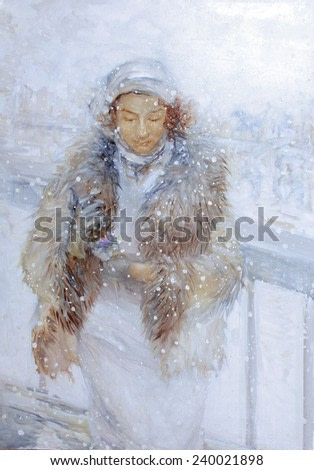 watercolor painting, woman winter
