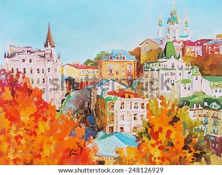 oil painting, cityscape, downtown street
