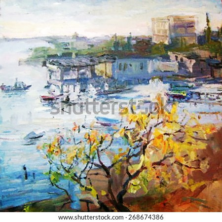 oil painting seascape, dock with boat, boats, sea, landscape