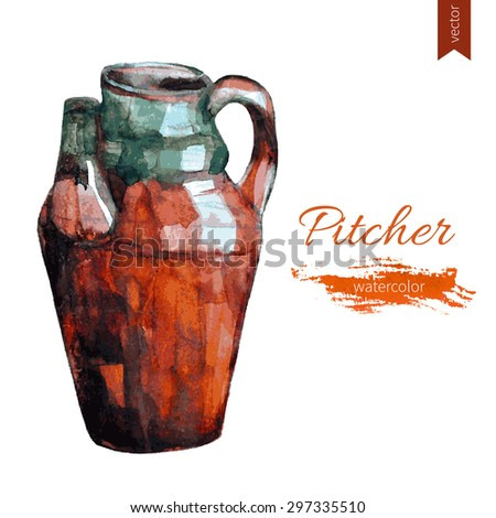Watercolor pitcher isolated on white background, hand drawn vector illustration, vintage style, sketch decorative dishware for design tea party, restaurant menu, natural organic food