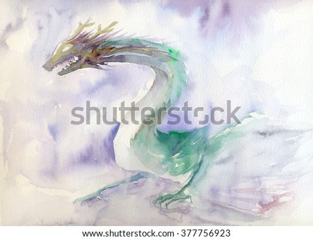West or Europe Dragon watercolor illustration on paper
