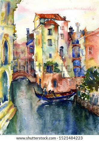 Venice watercolor. View of the canal.   Beautyfull bright watercolor with romantic Venice view. Beautiful old houses over water, a bridge in the distance, a gondola floating around the corner.
