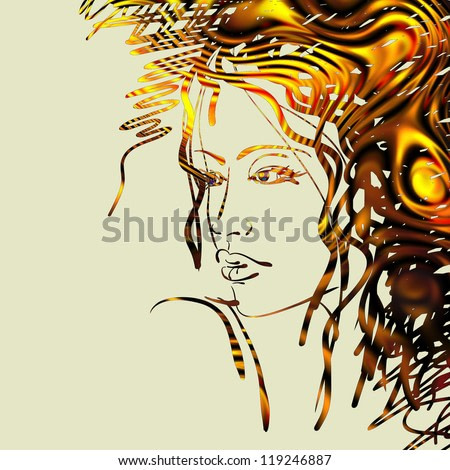 art colorful sketching beautiful girl face with golden hair isolated on beige background