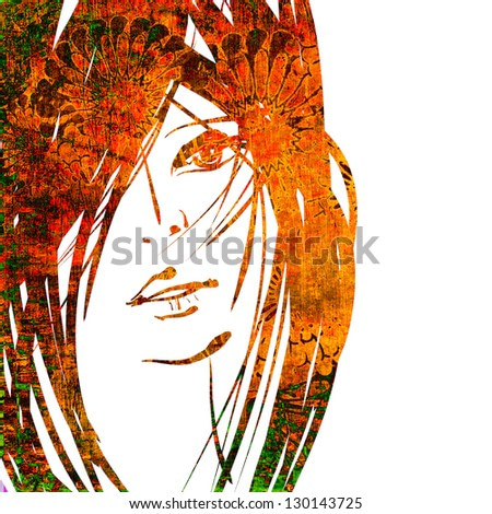 art colorful sketching beautiful girl face with red hair on white background