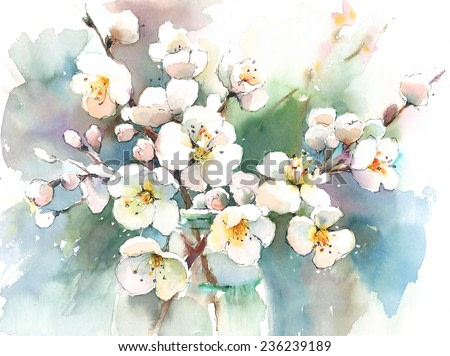Spring Blossoms Flowers hand painted watercolor