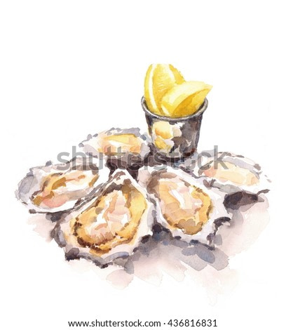 Oysters Lemon Wedges Watercolor Food Illustration isolated on white background