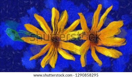 sunflower flower in small vase isolated on blue, digital painting.