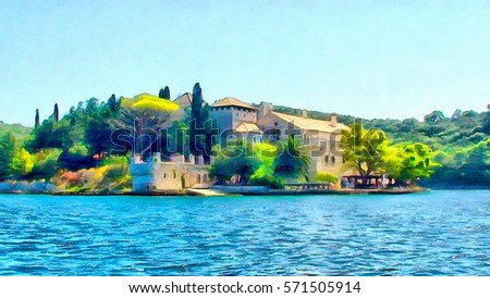 watercolor painting  of Mediterranean monastery on the island