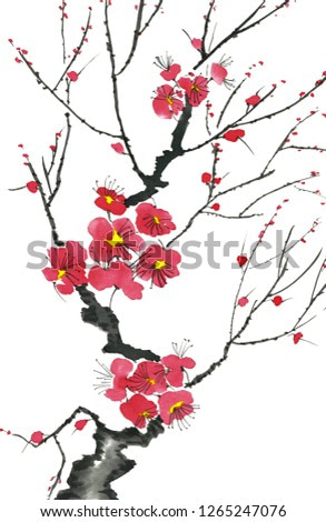 A branch of a blossoming tree. Pink and red stylized flowers of plum mei, wild apricots and sakura . Watercolor and ink illustration in style sumi-e, u-sin. Oriental traditional painting.
