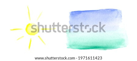 watercolor texture landscape, blue-green color transition for the background. Watercolor yellow sun on a white background. Isolated watercolors for creativity