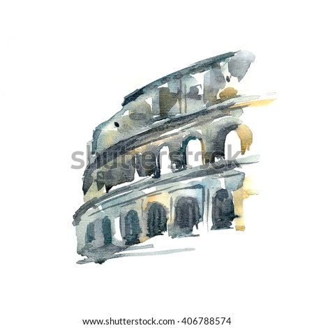 Hand painted color sketch of Colosseum, Rome, Italy. White background.