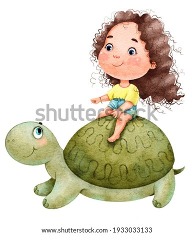 Illustration of a cute funny girl with curly hair travels and rides a big green turtle painted in watercolor