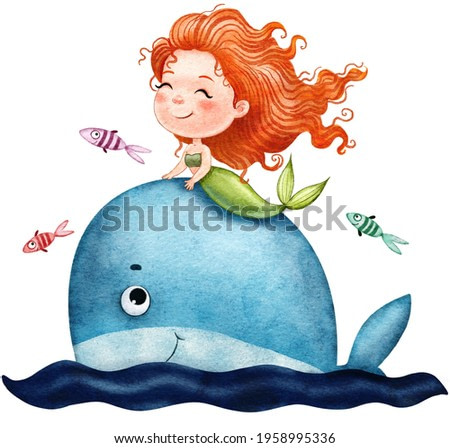 Cute adorable little mermaid on a big blue whale with fish swims, painted in watercolor