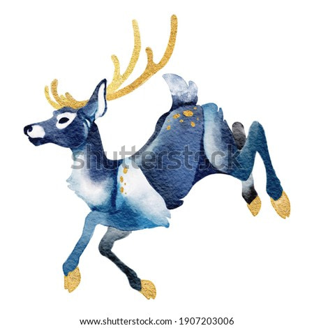 Watercolor illustration of stylised blue color deer. Hand drawn animal silhouette sketch.Wildlife art illustration.Vintage graphic for fabric,postcard,greeting card, stickers. Golden accents.