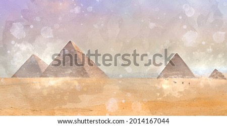 Digital watercolor painting of beautiful landscape image view of Famous Egyptian pyramids of Giza and camel in foreground.
