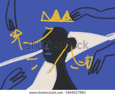 Dress King Portrait with hand and crown. Expressionism Painting and modern abstract art . Basquiat vibe. Art For print and poster