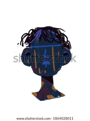 Graffiti Portrait Of African Painting without eye with color mark. Abstract and Sculpture render. Expressionism and Basquiat style. Modern art for print, poster, and shirt design