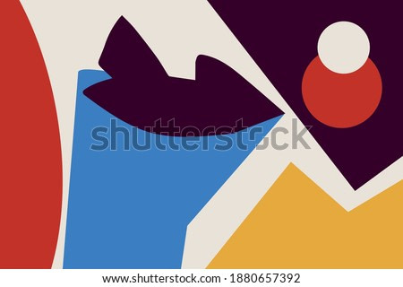 Vector Abstract art and collage with primary color. Trendy simple and minimalist modern art. For print and poster. Matisse and Bauhaus vibe.