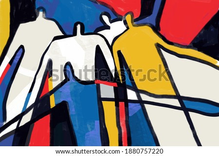 Colorful abstract neoplasticism and cubism art style. Painting with primary color in Mondrian style with abstract people. For print and wall art.