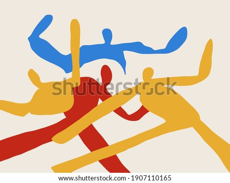 Abstract art print. Trendy simple People shapes dancing. Fashion and Minimalist modern art. For print, art Product and poster. Matisse and Bauhaus vibe.
