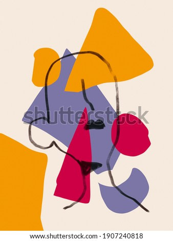 Colorful abstract neoplasticism and cubism art style With woman portrait line art. Painting with primary color in Bauhaus style with abstract people. For print and wall art and art product