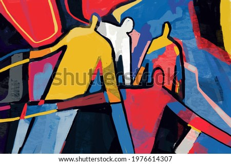 Colorful abstract people neoplasticism and cubism art style. Painting with primary color in Mondrian and keith haring style with abstract people. For print and wall art.