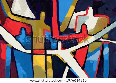 Colorful people abstract neoplasticism and cubism art style. Painting with primary color in Mondrian style with abstract people. For print and wall art.