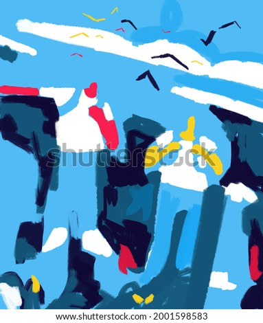 Two guy painting color with blue and positive color with birds and clouds. Modern painting draft and rough. positive color and composition for art and print.