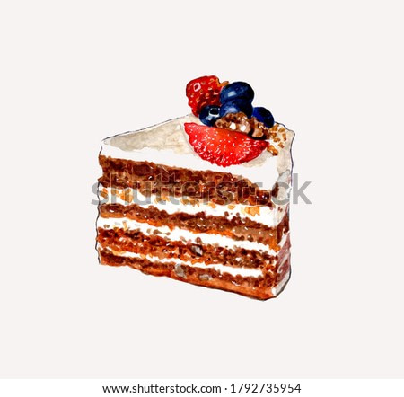 A piece of cake with cream and fresh berries on a white background. Watercolor illustration