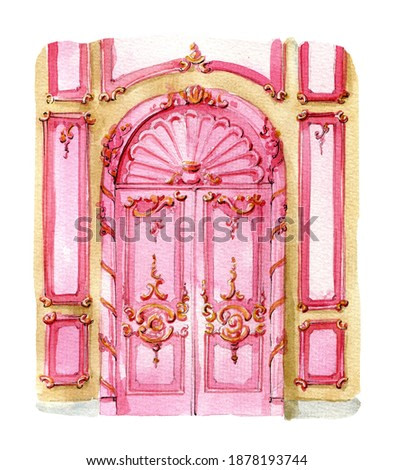 Watercolor illustration. Baroque classic stile pink color door. Bright illustration for greeting cards