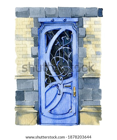 Watercolor illustration. classic blue door with forged grating and glass, in art nouveau style on a stone wall. Bright illustration for greeting cards