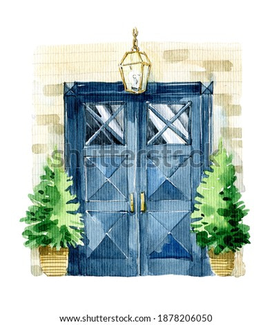 Watercolor illustration. Classic indigo color door with glass, in art deco style on a stone wall and plants to the sides. Bright illustration for greeting cards