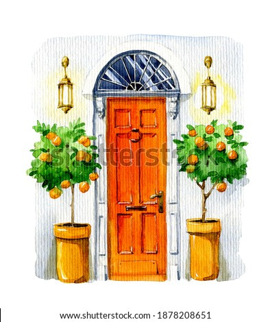 Watercolor illustration. Сlassic orange door with a window on top, and plants and lamps on the sides. Bright illustration for greeting cards.