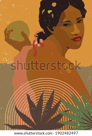 Vector boho style black woman print. French Polynesia Tahiti culture. Bohemian exotic tropical feminine diversity poster. Gauguin inspired boho wall art illustration home decor. Warm colors wall print