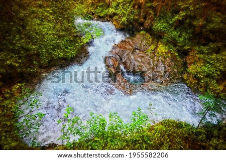 Oil painting canvas of wild gerlos stream in High Tauern Mountains.