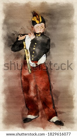 Young Flautist - Edouard Manet. Redrawing with a watercolor.